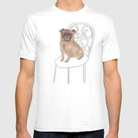 Pug on a chair Mens Fitted Tee White SMALL