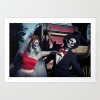 Day Of The Dead Wedding Day Argument Art Print