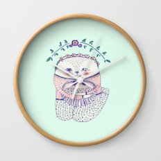 flower cat Wall Clock