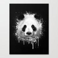 Cool Abstract Graffiti Watercolor Panda Portrait in Black & White  Canvas Print