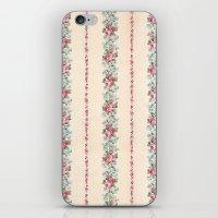 Vintage Pink Floral Stri… iPhone & iPod Skin