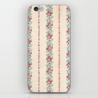 Vintage Pink Floral Stripes iPhone & iPod Skin