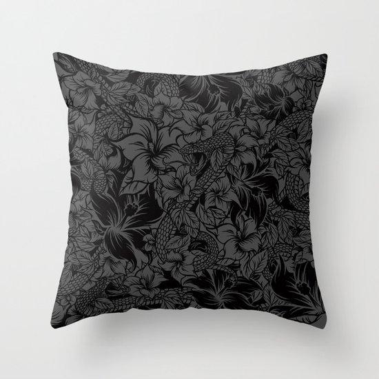 Snaky Fleur, Black and Grey Throw Pillow