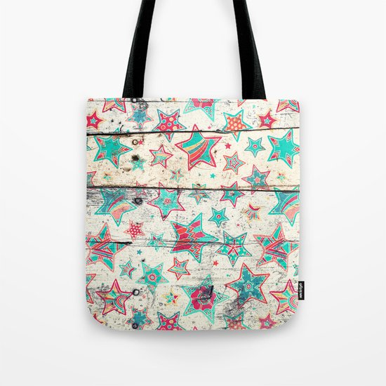 Grunge Stars on Shabby Chic White Painted Wood Tote Bag