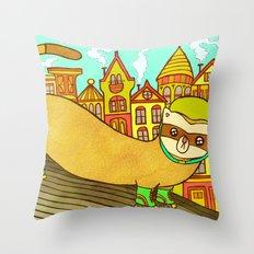 Ferret on Rollerskates Throw Pillow
