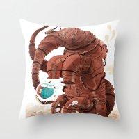 Space Brontosaurus  Throw Pillow