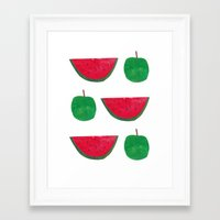Watermelon & Apple Framed Art Print