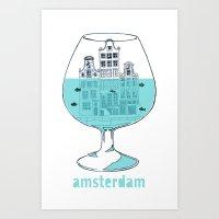 Amsterdam in a glass Art Print