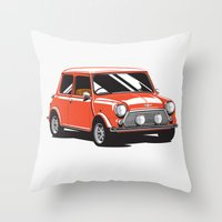 Mini Cooper Car - Red Throw Pillow