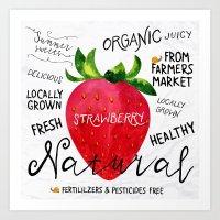 Watercolor strawberry Art Print
