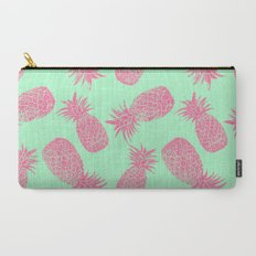 Pineapple Pattern - Mint & Crimson Carry-All Pouch