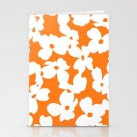 Dogwood Floral: Orange / White Stationery Cards