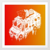 Melty Ice Cream Truck - sherbet Art Print