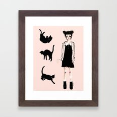 Augustine and cats Framed Art Print