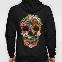 Floral Skull Vintage Black Hoody