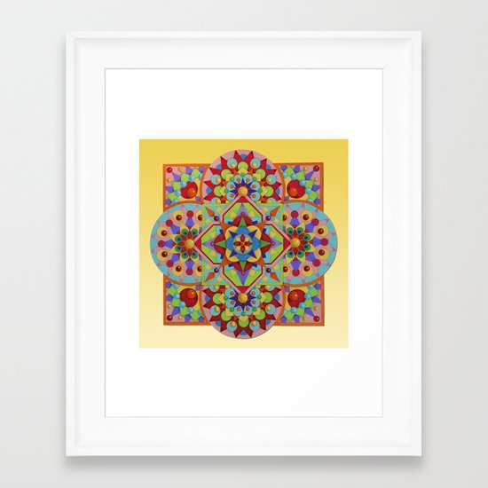 Chartres Mandala - yellow ground Framed Art Print