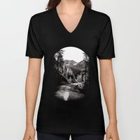 The road through the forrest below the mountains Unisex V-Neck