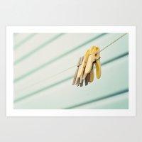 Pegs By A Beach Hut Art Print