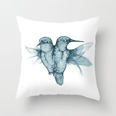 Conjoined Hummingbirds Throw Pillow