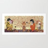 Kokeshis Klimt Art Print