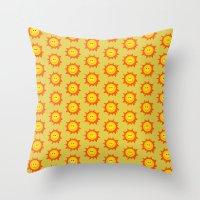 Happy Cartoon Sun Patter… Throw Pillow