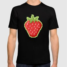 Pixel Strawberry Black Mens Fitted Tee SMALL