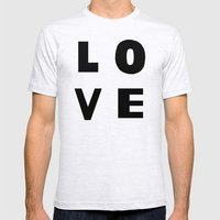 Love Black Mens Fitted Tee Ash Grey SMALL