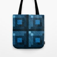 Blue Green Pixel Blocks Tote Bag