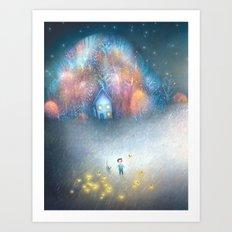 A Field of Fireflies Art Print