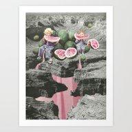 Watermelon Watermarks Art Print
