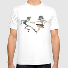 Swing dance 2 White Mens Fitted Tee SMALL
