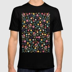 Ditsy Flowers Mens Fitted Tee Black SMALL