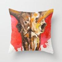 Red Moon Skull Throw Pillow