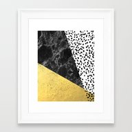Mele - Gold Abstract Pai… Framed Art Print