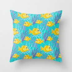 Yellow Tang in Coral Sea Throw Pillow