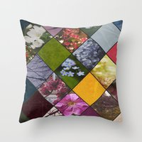 Diamond Flower Collage Throw Pillow