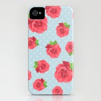 iPhone 4s & iPhone 4 Cases featuring Shabby Chic, Polka Dots, Roses - Red Green Blue by sitnica