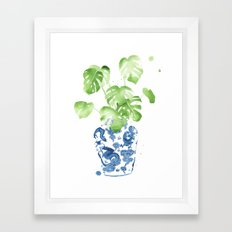 Ginger Jar + Monstera Framed Art Print