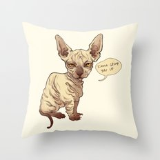 Angry Sphynx Throw Pillow