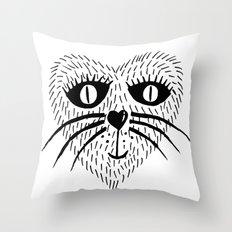 Kitty Love - Heart cat Throw Pillow