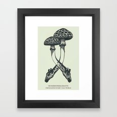 Mushrooms & Giraffe Framed Art Print