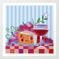 Wine & Cheese Party Art Print