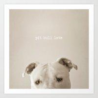 Pit bull love  Art Print