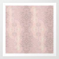 Floral Lace // Pink Semi… Art Print