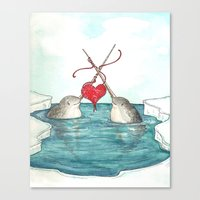 Knitting Narwhals Canvas Print