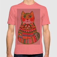 Green apple cat Mens Fitted Tee Pomegranate SMALL