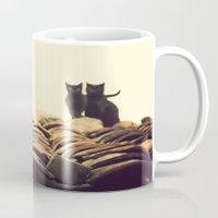 gatos en el tejado Mug