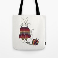 Knitted Cat Tote Bag