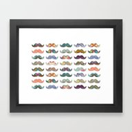 Framed Art Print featuring Mustache Mania by Bianca Green