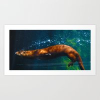 Otter Bubbles Art Print